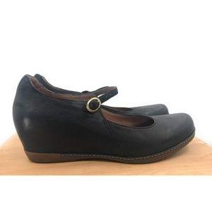 Dansko Size 41 Black Leather Mary Jane Wedge
